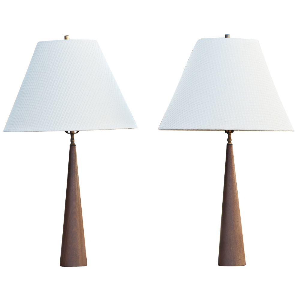 details about 2 30 mid century modern teak table lamps. Black Bedroom Furniture Sets. Home Design Ideas