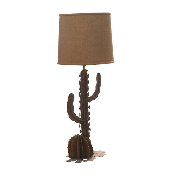 2 Wrought Iron Cactus Table Lamps Western Style