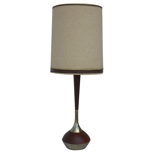 Vintage scandinavian wood brass table lamp w shade ebay for Vintage wooden table lamps