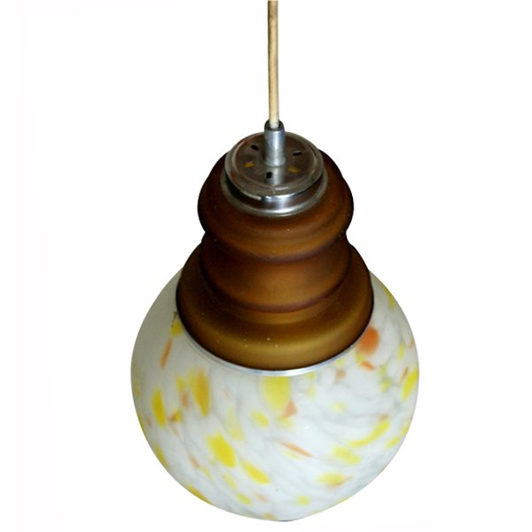 Mid Century Modern 2 Bulb Hanging Pendant Glass Light