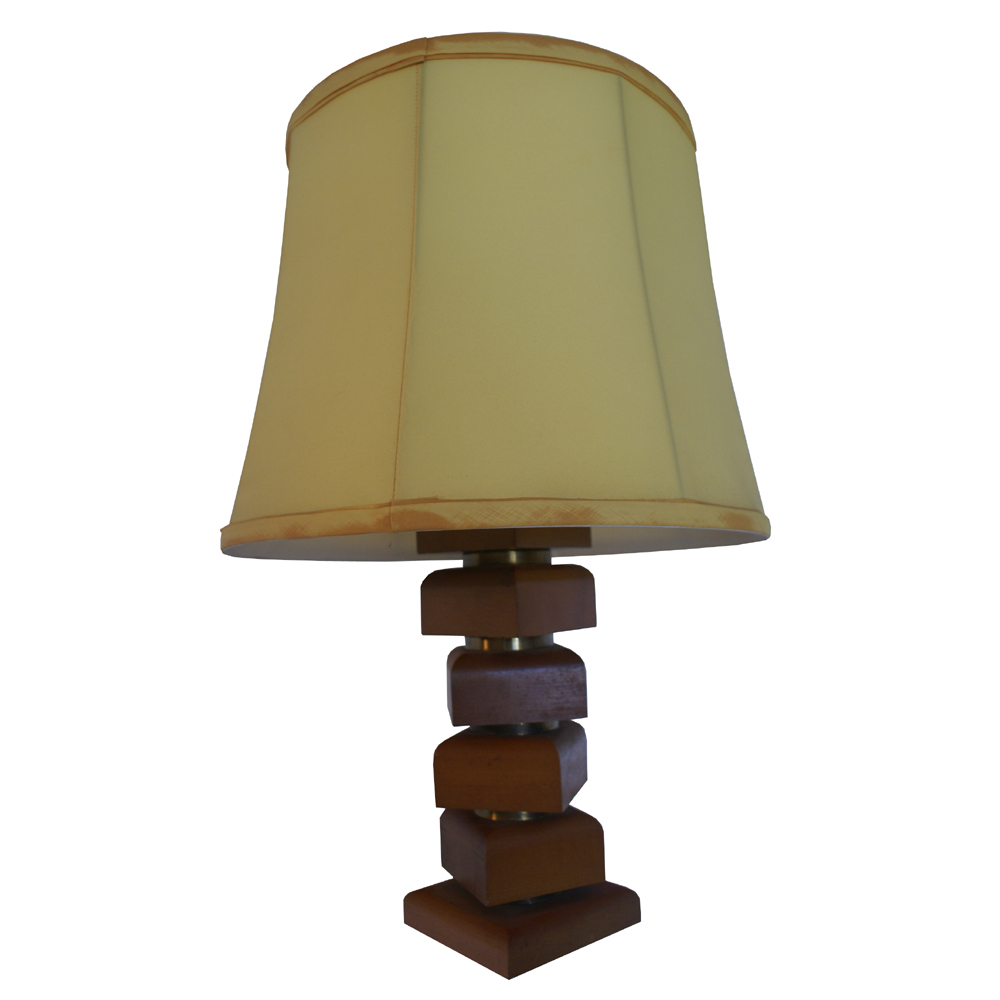 Vintage wood and brass table lamp ebay for Lamp wooden