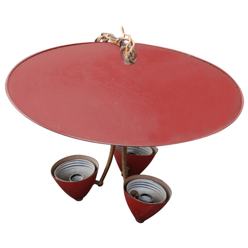 """Red Industrial Chandelier: Vintage 20"""" Industrial Pendant Saucer Light With Red"""