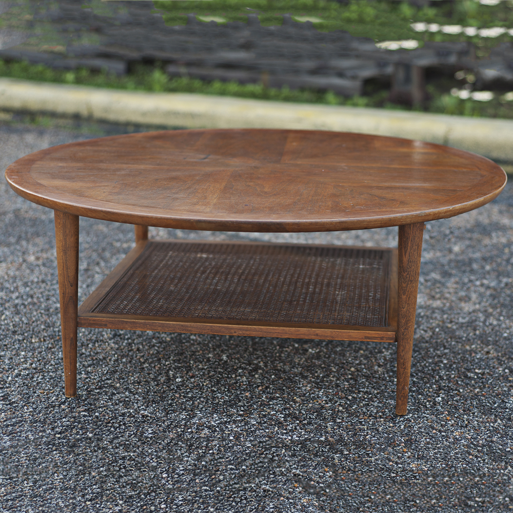 Lane Blonde Coffee Table: Mid Century Modern Lane Two Tier Coffee Table With Woven