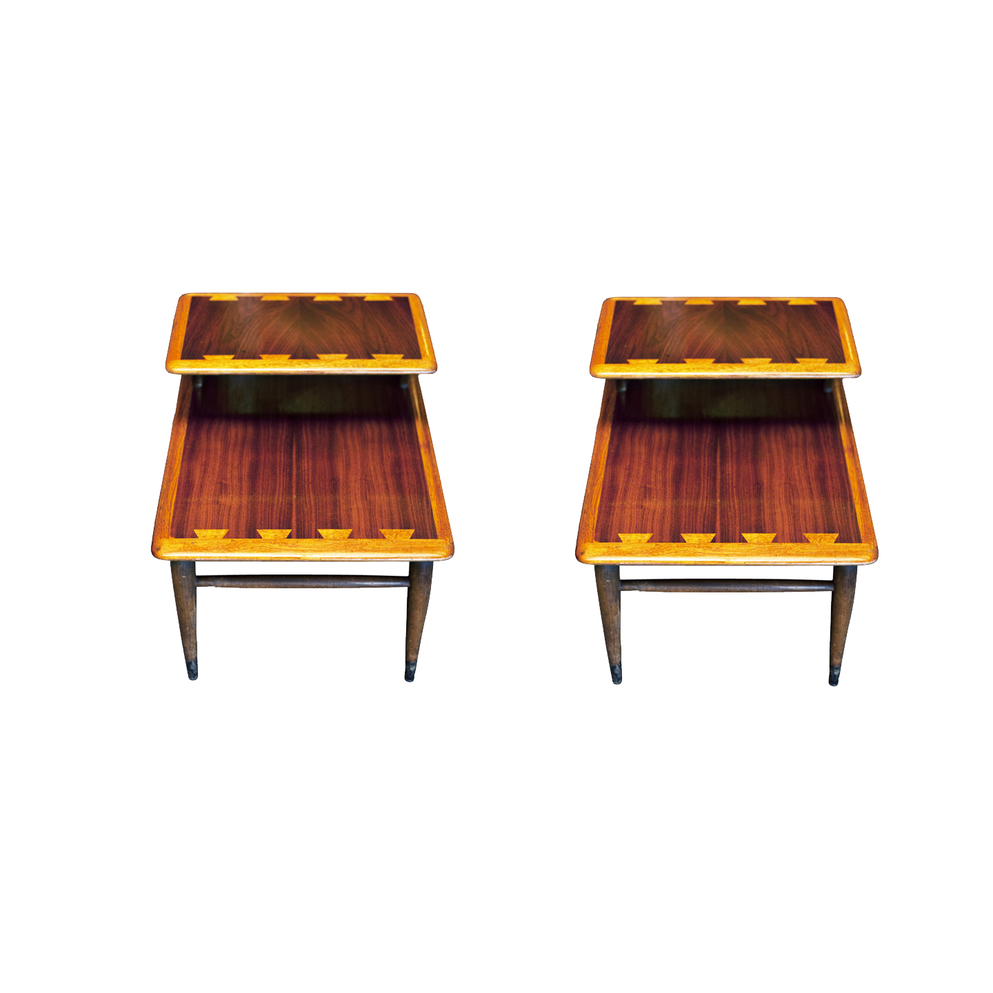 1950s Mid Century End Table By Lane Furniture: (2) Vintage Mid Century 2 Tiered Lane Acclaim Side Tables