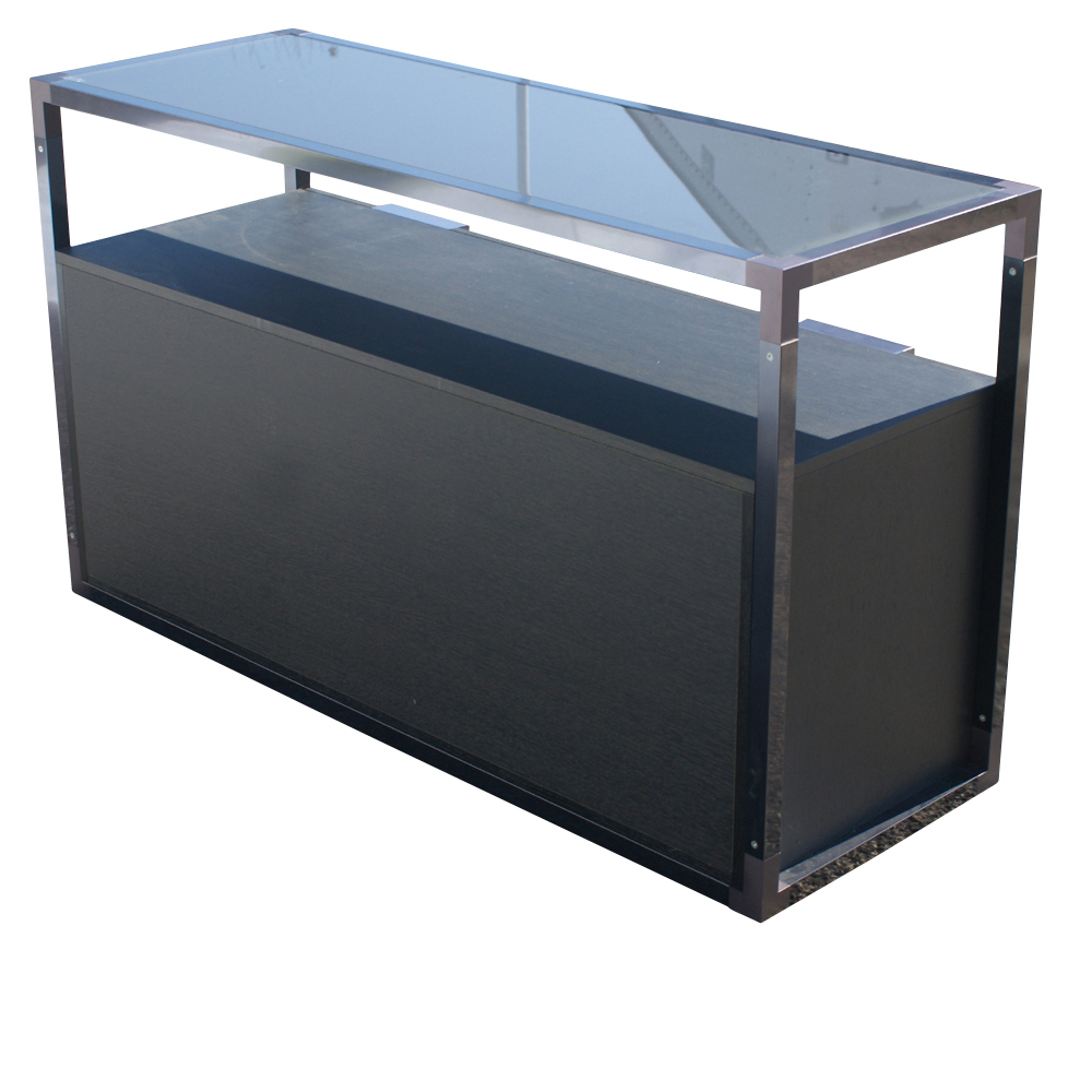 metro retro furniture new ligne roset contours sideboard cabinet glass top. Black Bedroom Furniture Sets. Home Design Ideas