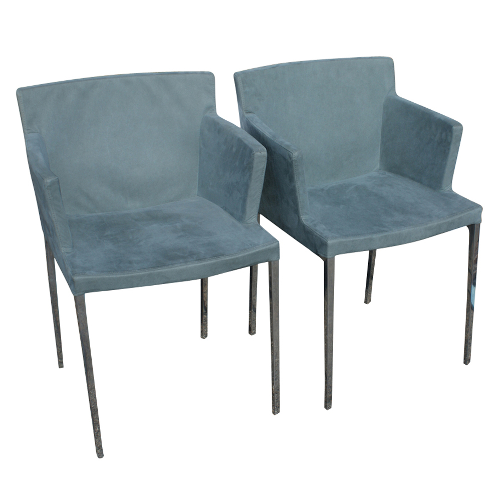 2 ligne roset guest aluminum dining arm chairs 10 off sale ebay. Black Bedroom Furniture Sets. Home Design Ideas