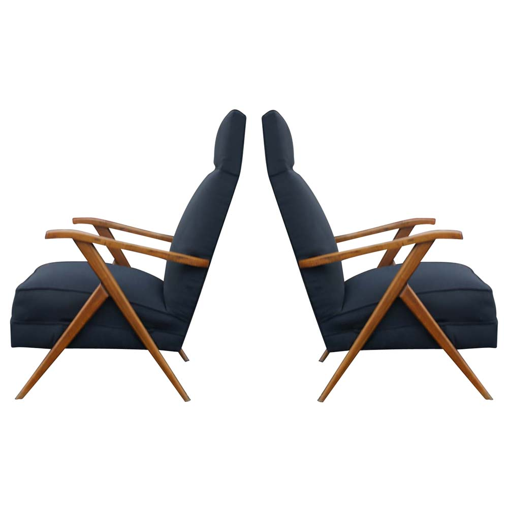 Pair 2 Vintage Italian Lounge Arm Chairs In The Manner Of Gio Ponti