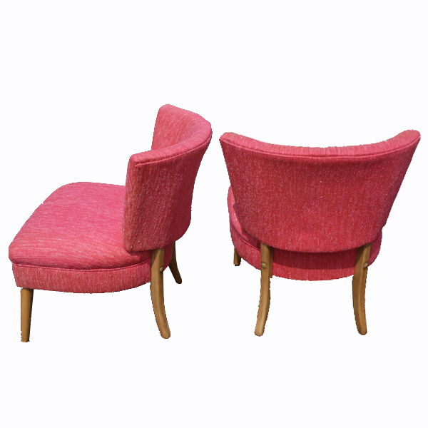 Details about 2 vintage slipper lounge chairs set heywood style