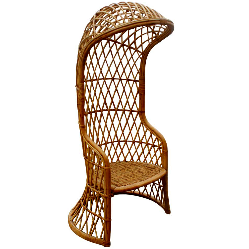1960`s Italian Woven Wicker And Rattan Canopy Chair Italy Unusual Italian  Wicker And Rattan Hooded Canopy Chair
