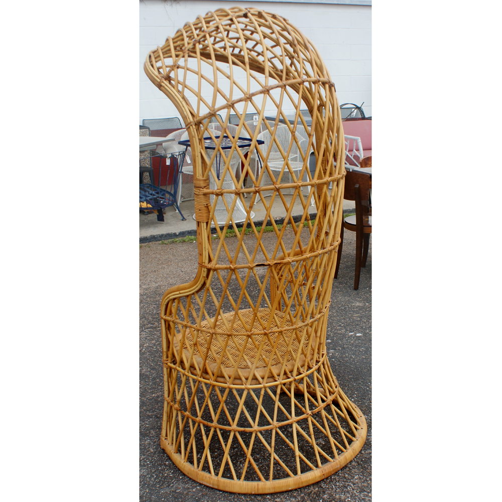 Perfect 1960`s Italian Woven Wicker And Rattan Canopy Chair Italy Unusual Italian  Wicker And Rattan Hooded Canopy Chair