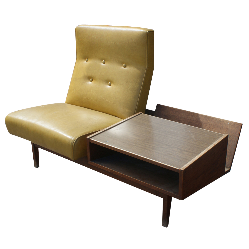 Mid century modern lounge chair with side table ebay for Modern lounge furniture