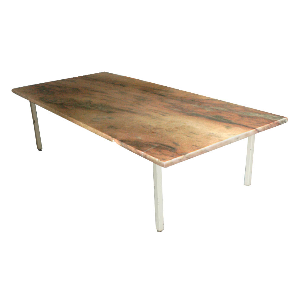 "Klein Marble Coffee Table: 60"" Vintage Rojo Alicante Marble Coffee Table"