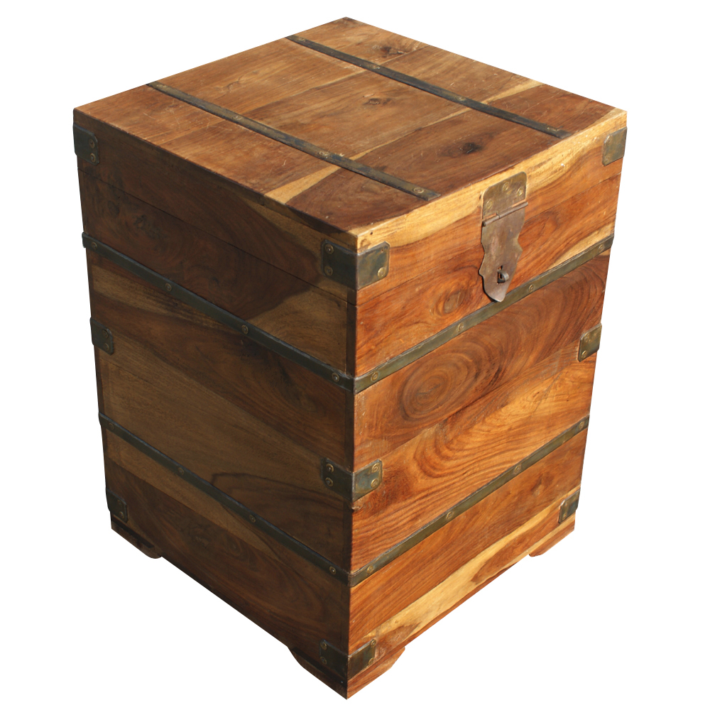 Details about vintage industrial wood storage box side table