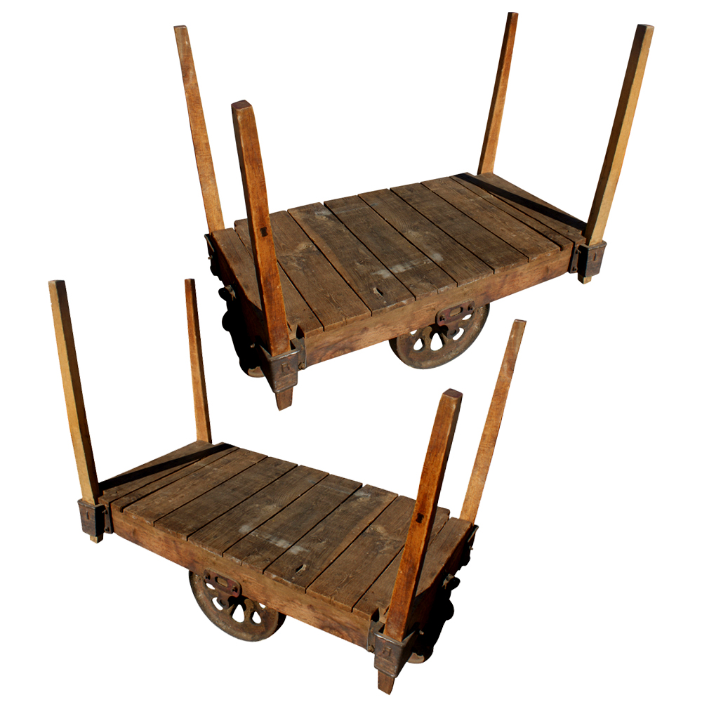 48 pair antique wood iron industrial rolling cart ebay for Woodworking cart