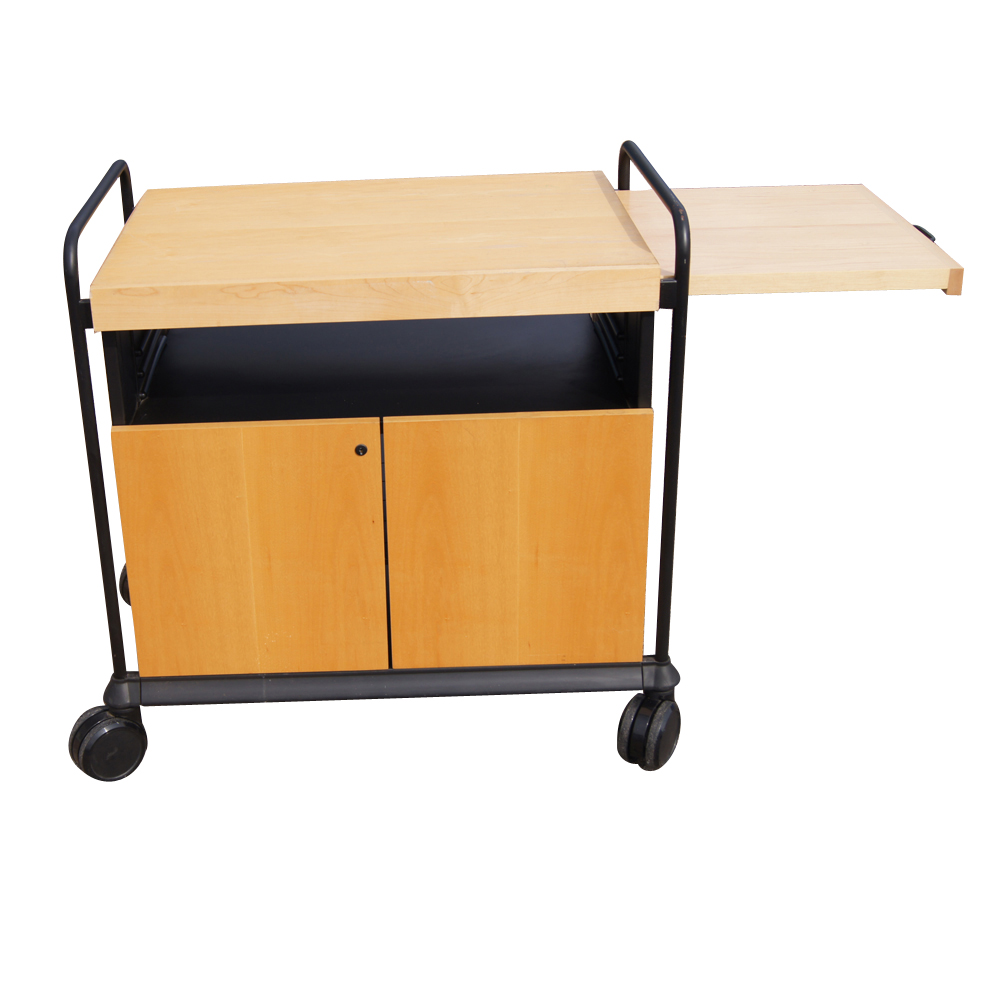 Kitchen Utility Birch Rolling Cart Cabinet with Butcher