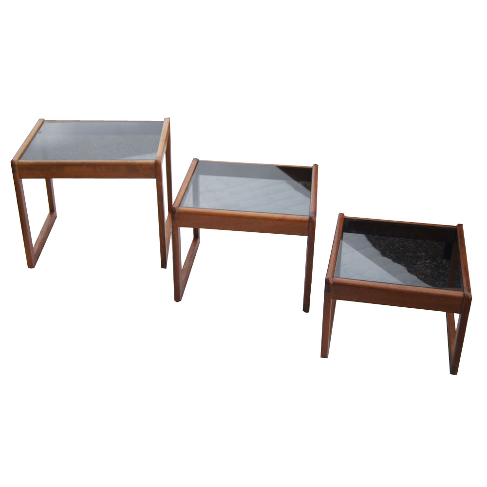 Set Of Three Walnut And Gl Nesting Tables