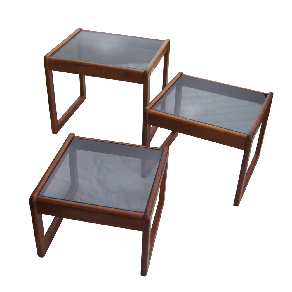 Glass Nesting Tables ~ Set of three walnut and glass nesting tables