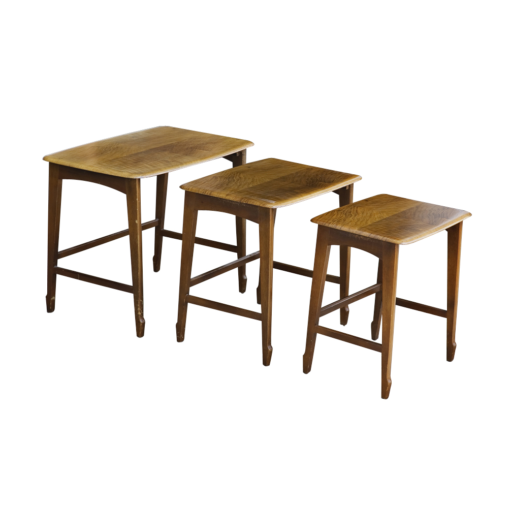 set of three mahogany remploy wooden nesting tables
