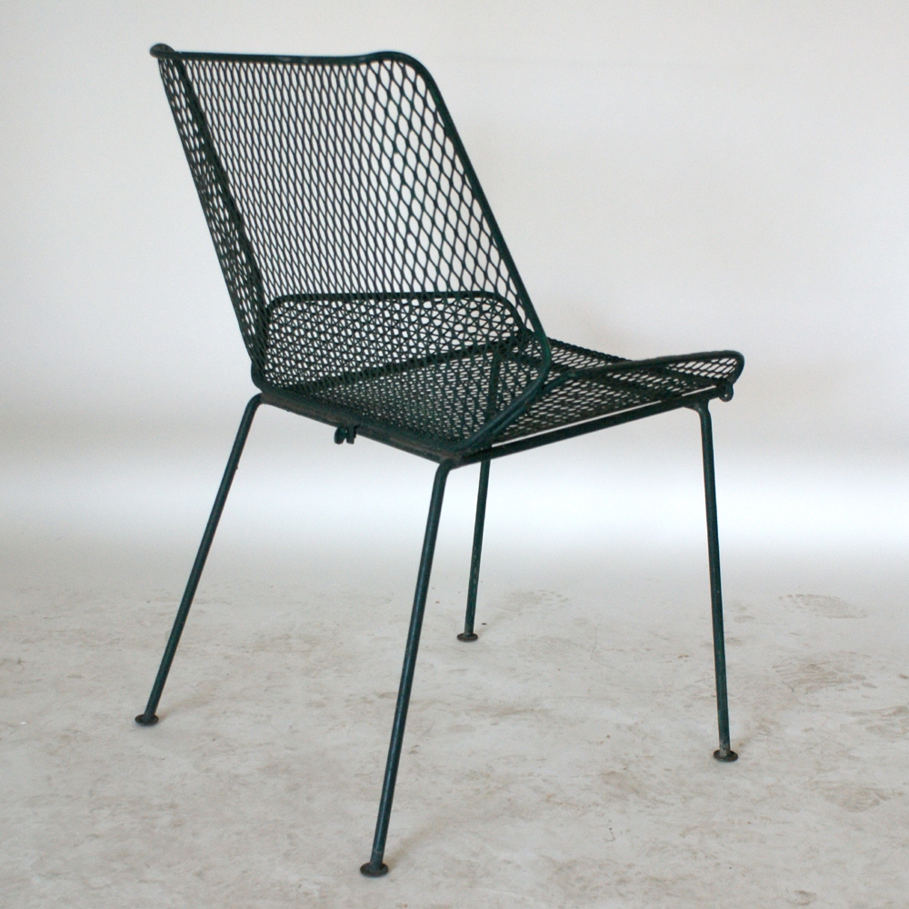 Vintage mid century modern metal folding wire mesh patio chairs -  6 Salterini Vintage Wire Mesh Outdoor Chairs