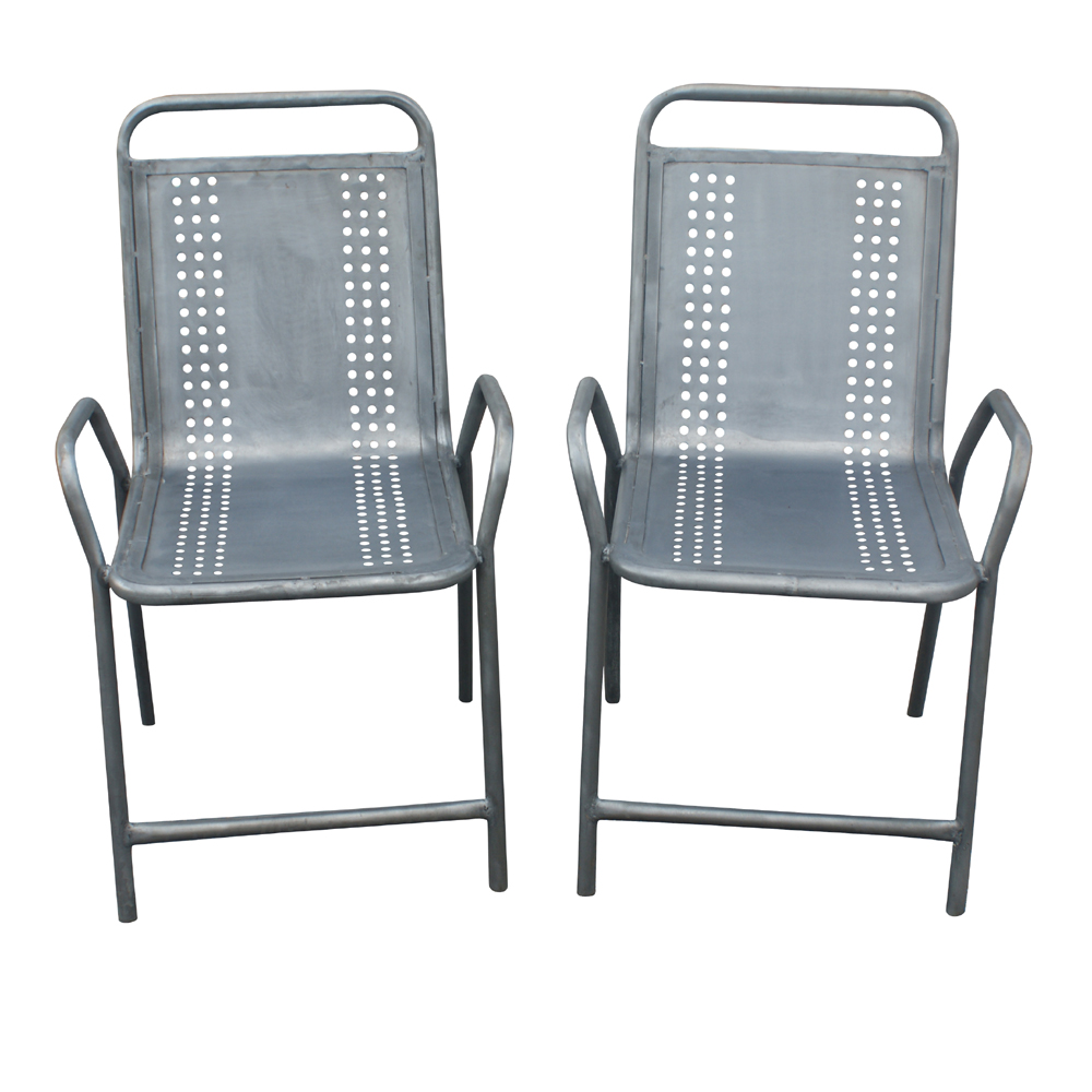 details about 2 vintage industrial outdoor metal arm chairs
