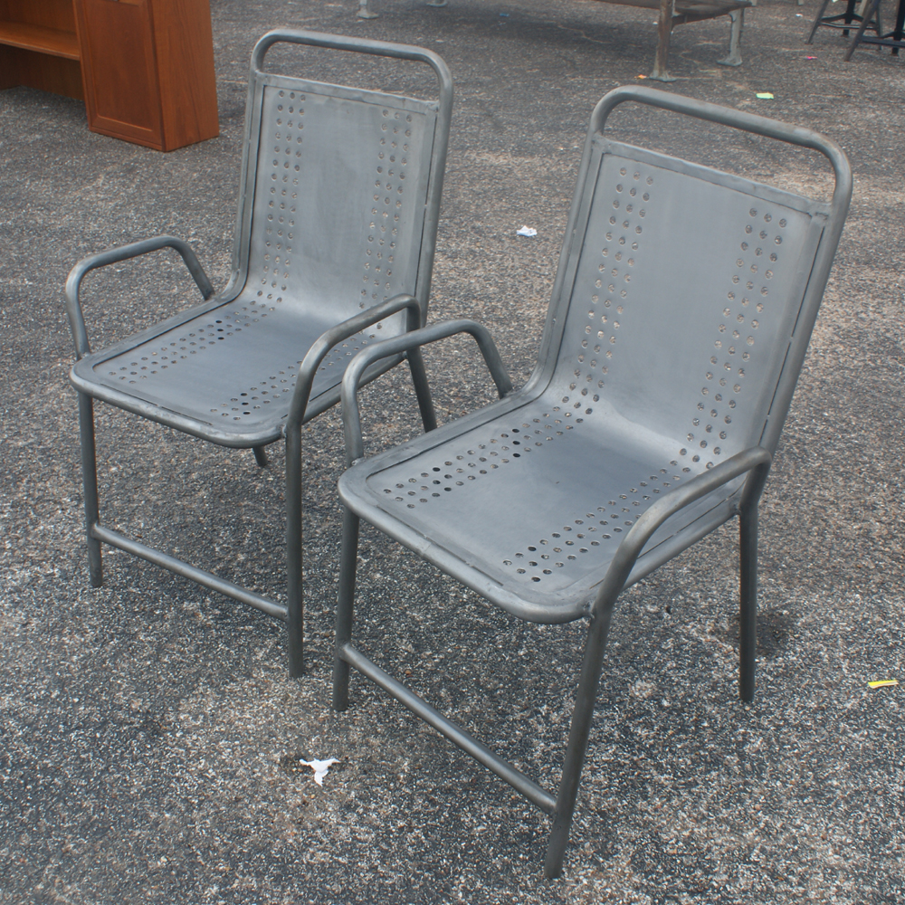 2 Vintage Industrial Outdoor Metal Arm Chairs Ebay