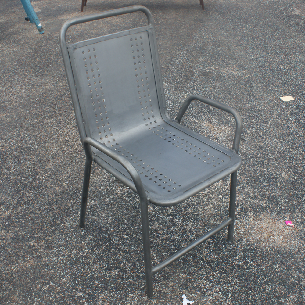 2 Vintage Industrial Outdoor Metal Arm Chairs