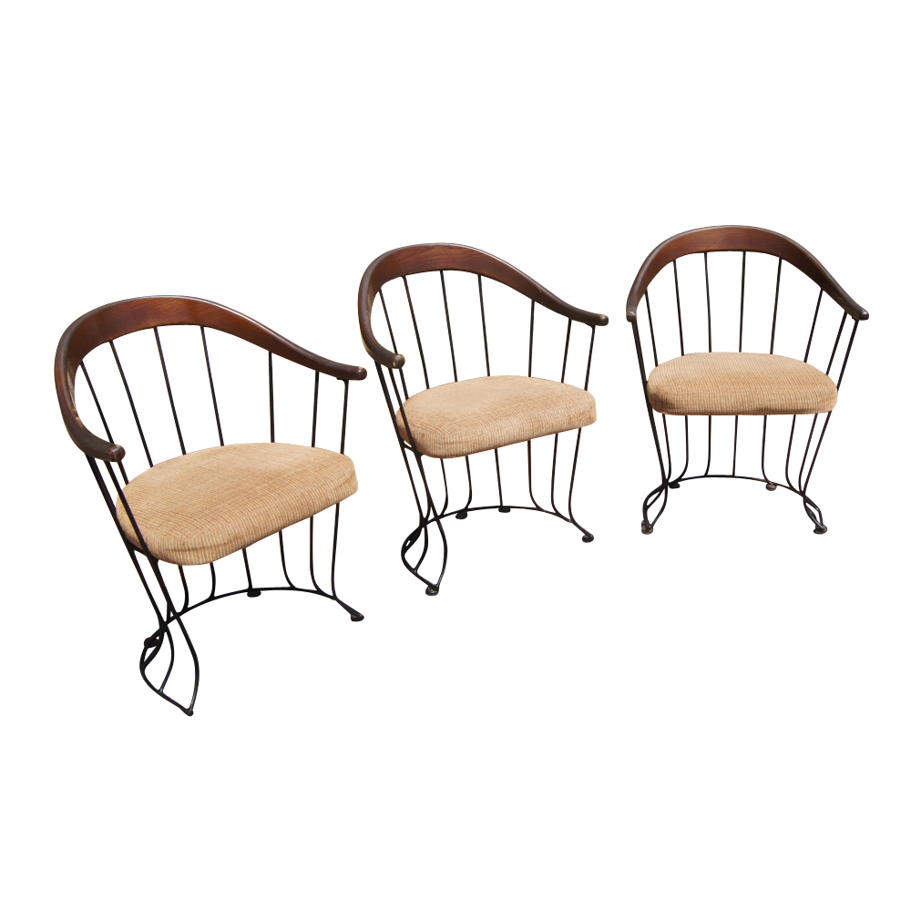 3 mid century modern wood and metal chairs with wire for Modern metal chairs