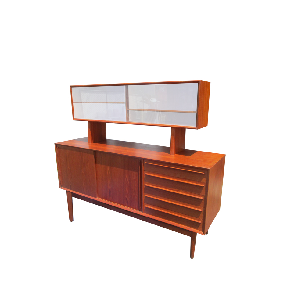 teak 2 doors bookcase top with 2 sliding glass doorsthis high quality piece has finished sides with beautiful wood grain throughout and