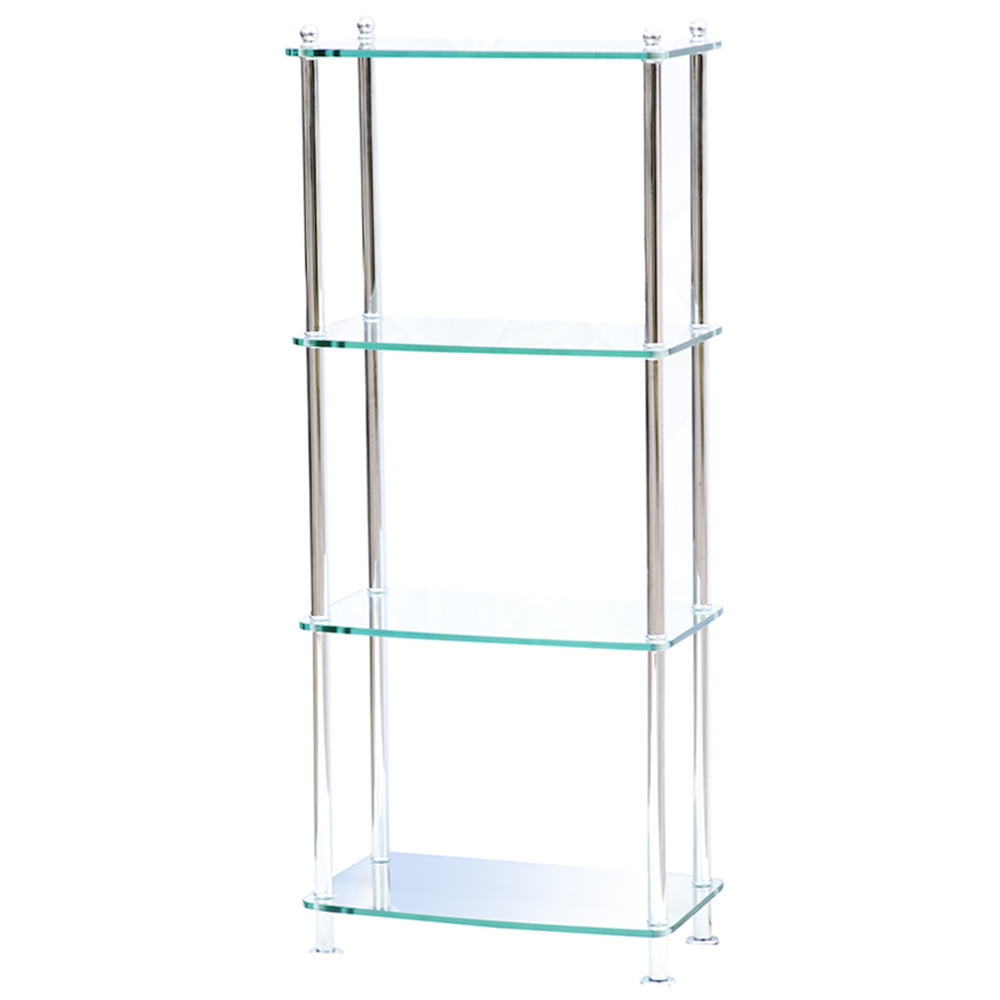 4 Shelf Modern Glass And Chrome Etagere 75 Off Ebay