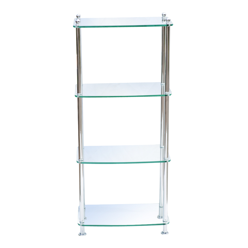 4 shelf modern glass and chrome etagere 75 off ebay. Black Bedroom Furniture Sets. Home Design Ideas