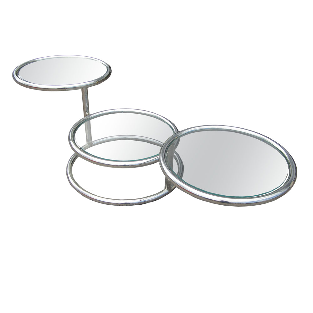 A French Vintage Glass And Chrome Cocktail Table Attributed To Milo Baughman.  This Unique Futurist Table Has Three Circle Tiers, Two Of Which Can Swivel  Out ...