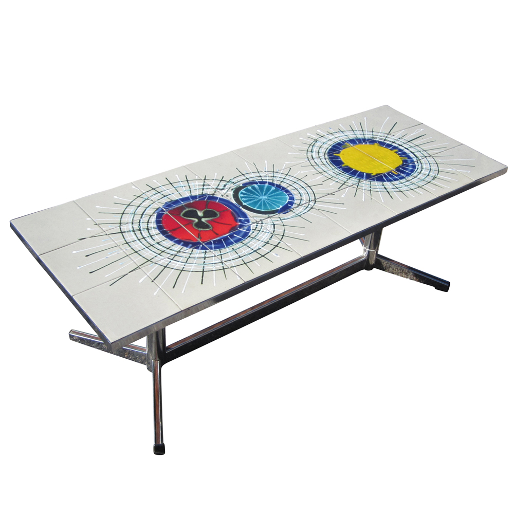 Midcentury retro style modern architectural vintage furniture from a vintage side table or bench with a chrome base and a ceramic tile top this table features colorful abstract modernist sunburst figures painted over geotapseo Choice Image