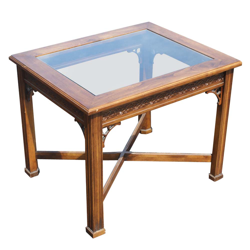 Wood Side Table : Details about Traditional Style Wood Glass Side End Table