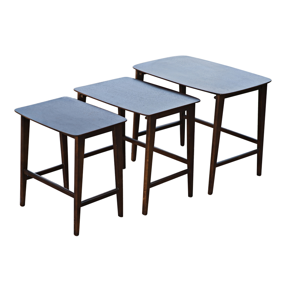 Danish mid century modern set of 3 nesting tables for Modern nesting coffee tables