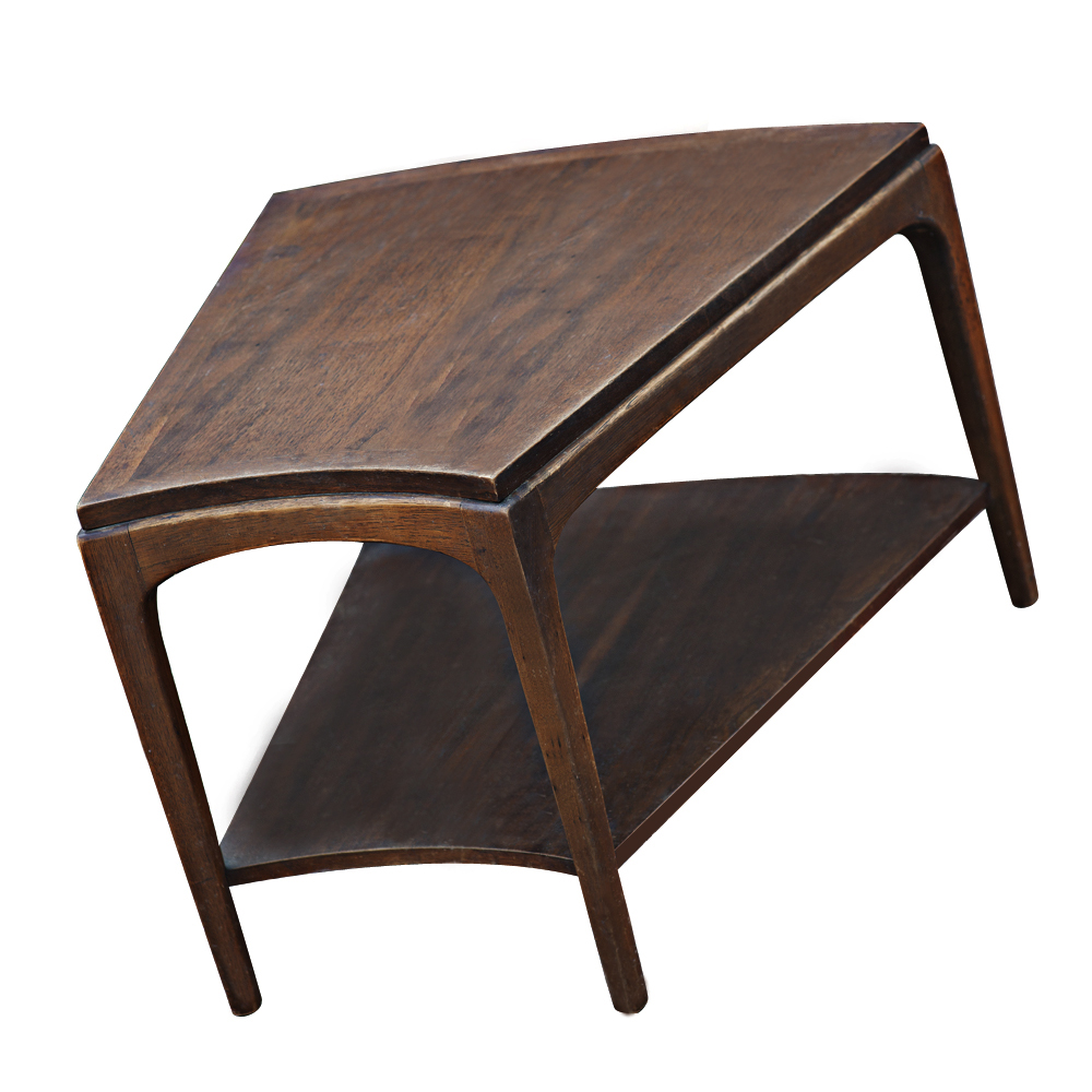 1950s Mid Century End Table By Lane Furniture: Vintage Lane Mid Century Walnut 2 Tier Side Table