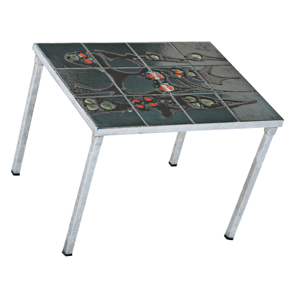 details about small vintage enamel top side table mr12525