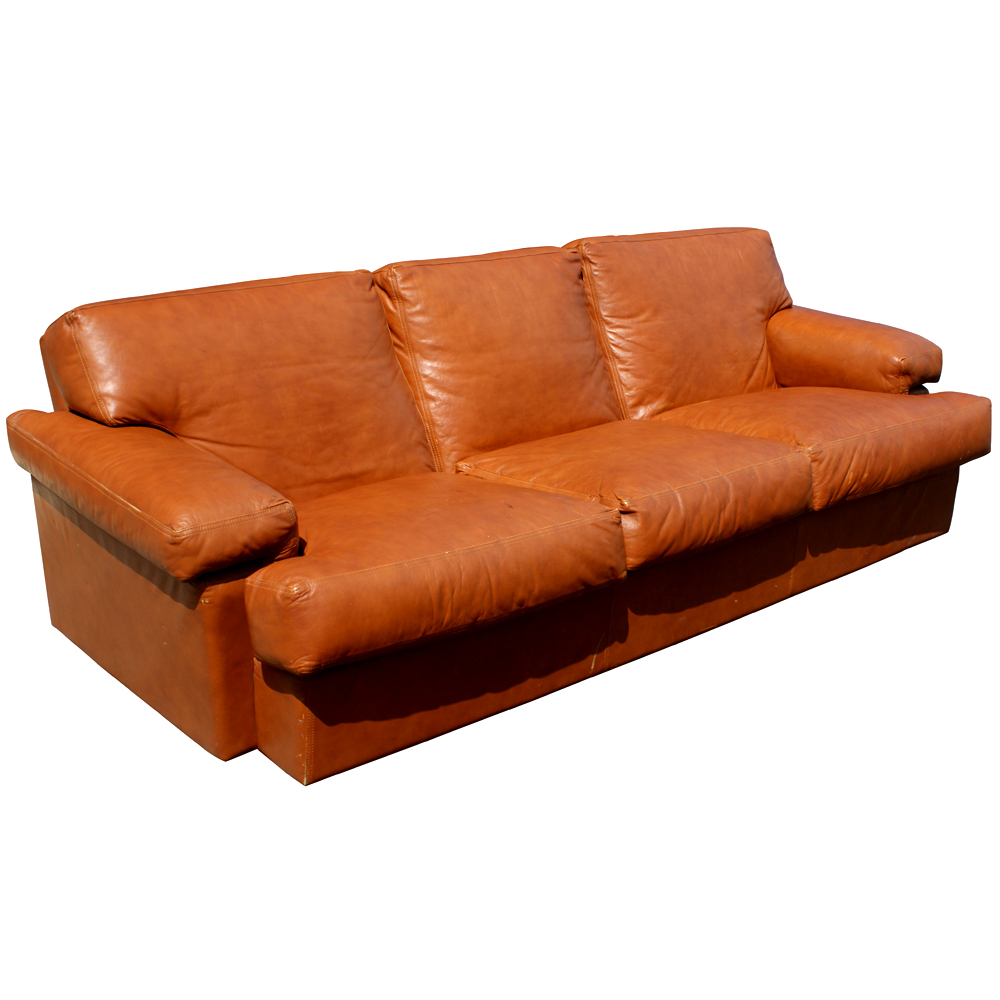 burnt orange leather sofa burnt orange leather and steel