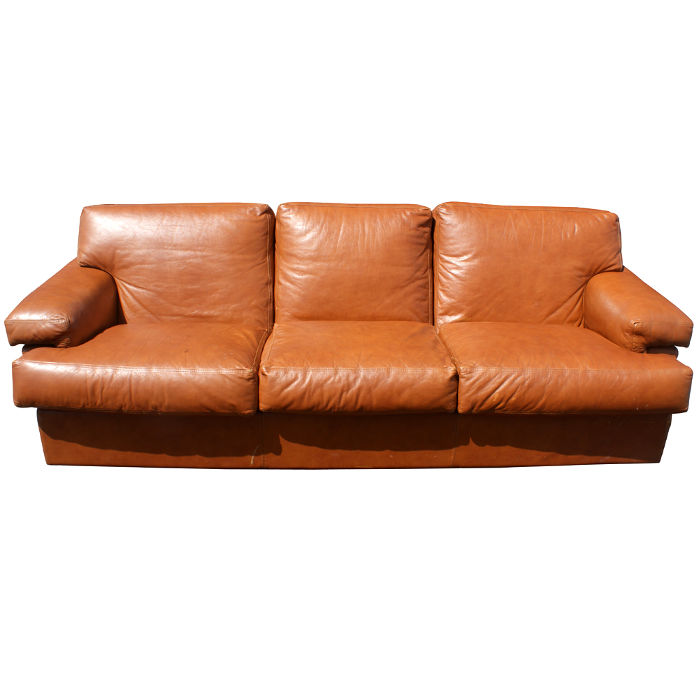 90 Mid Century Leather Three Seater Sofa Couch