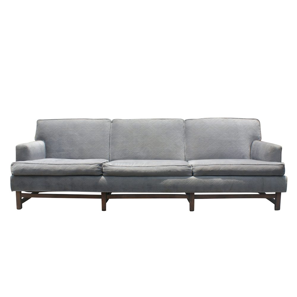 mid century modern bluish gray sofa couch wood base price reduced ebay. Black Bedroom Furniture Sets. Home Design Ideas