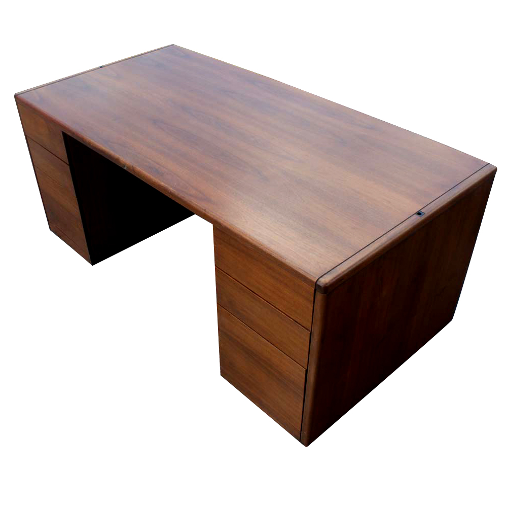 72 vintage steelcase walnut desk office double pedesta ebay - Retro office desk ...