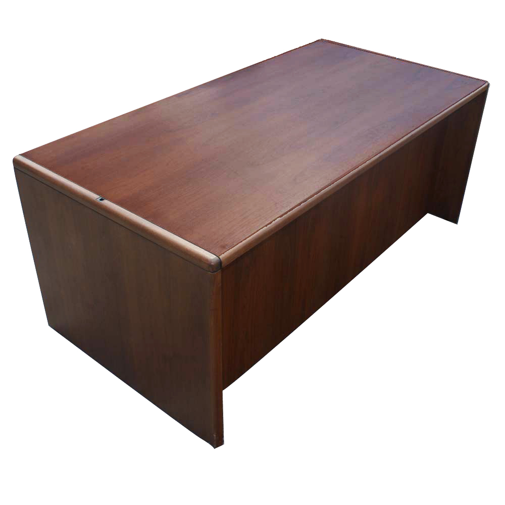 72 vintage steelcase walnut desk office double pedesta ebay - Metal office desk ...