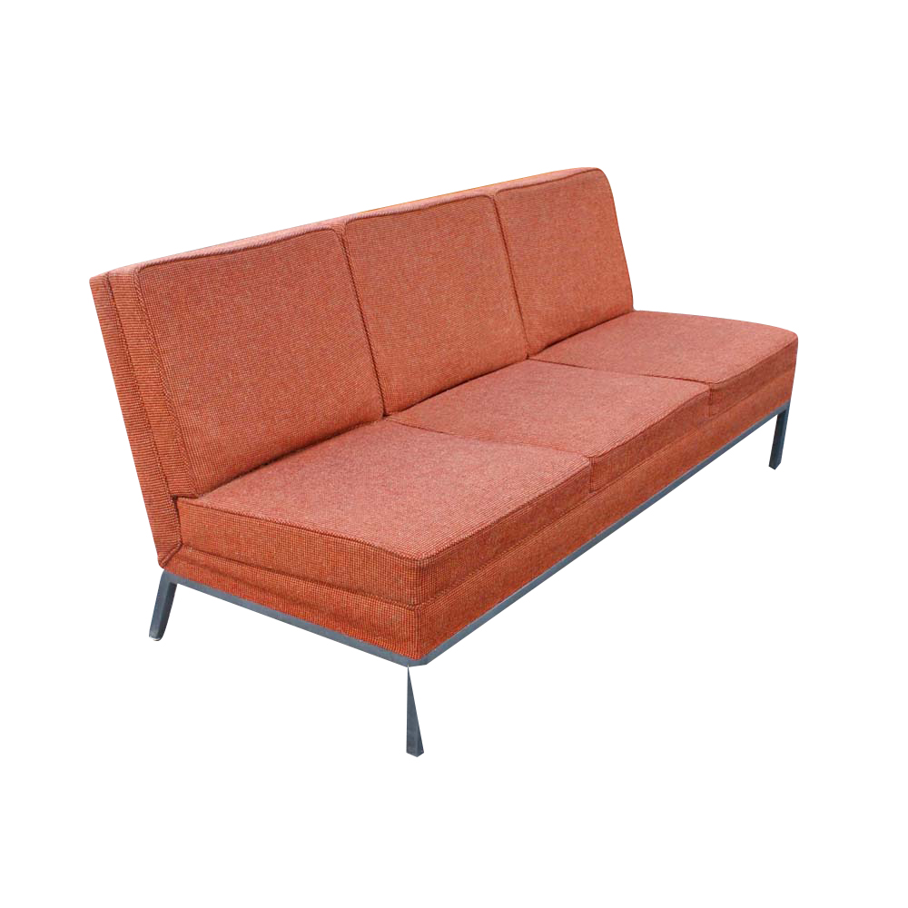 Metro Retro Furniture Vintage Steelcase Sofa Brushed Chrome Eames Knoll Era
