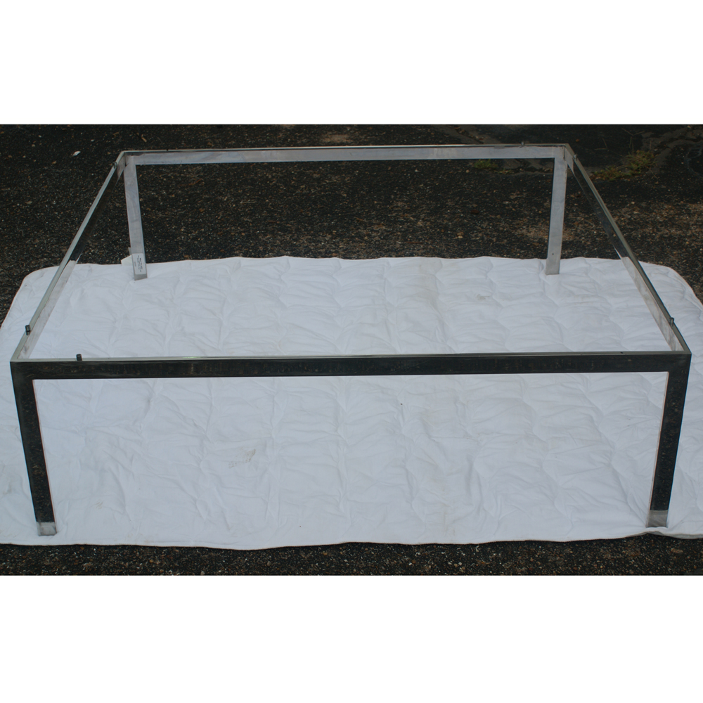 Glass Coffee Table With Stainless Steel Legs: 4ft Square Vintage Stainless Steel Coffee Table Base
