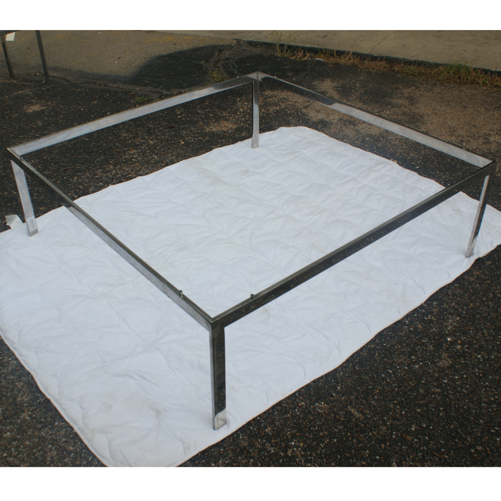 4ft square vintage stainless steel coffee table base for Metal coffee table base