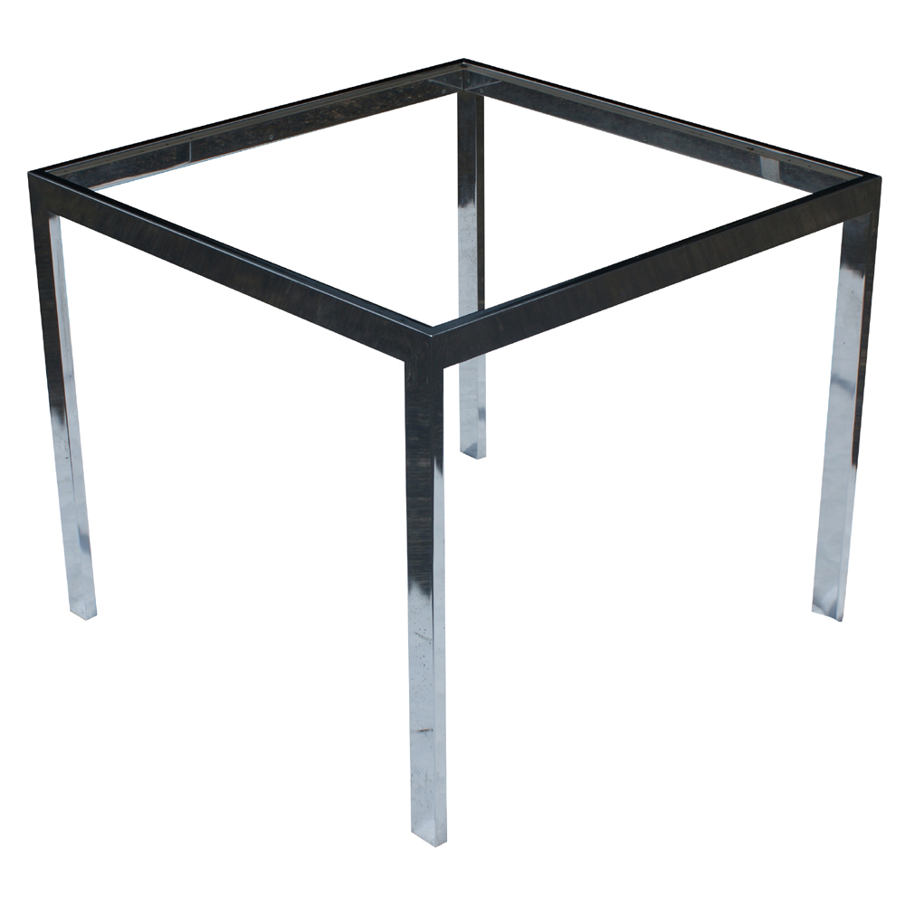26 vintage square chrome side end table base ebay for Side table base