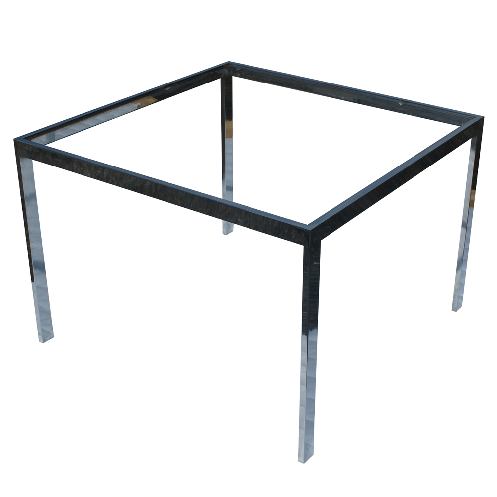32 vintage square chrome side end table base ebay for Side table base