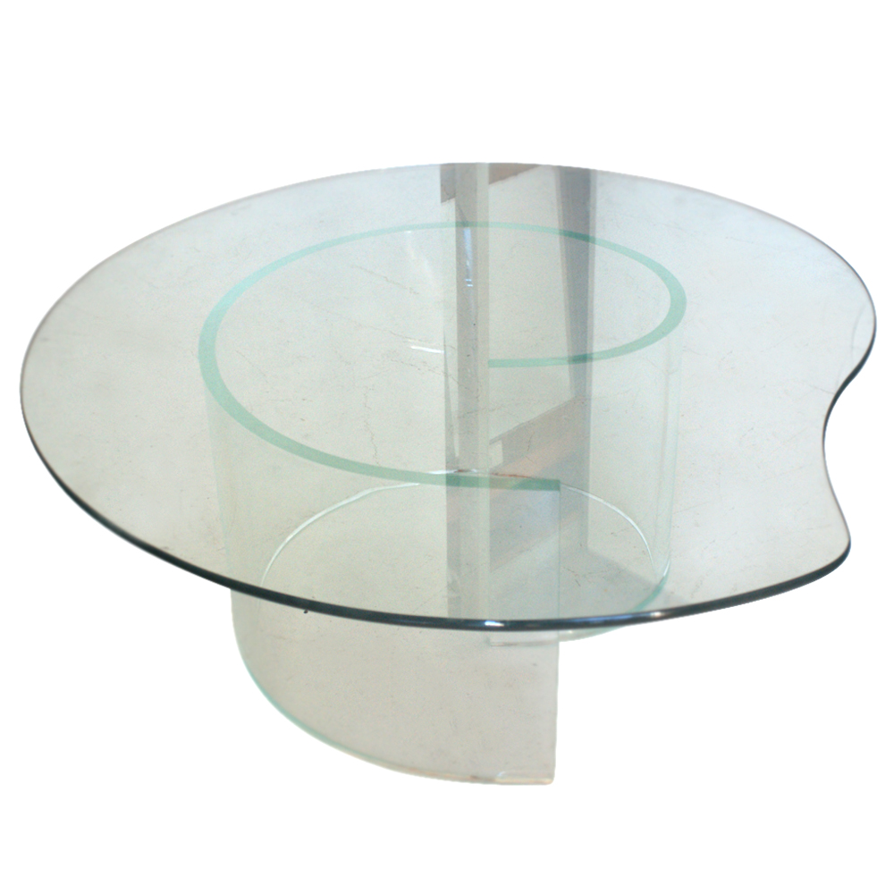 Vintage Glass Coffee Table In The Style Of Vladimir Kagan Glass Top.  Acrylic Snail Base