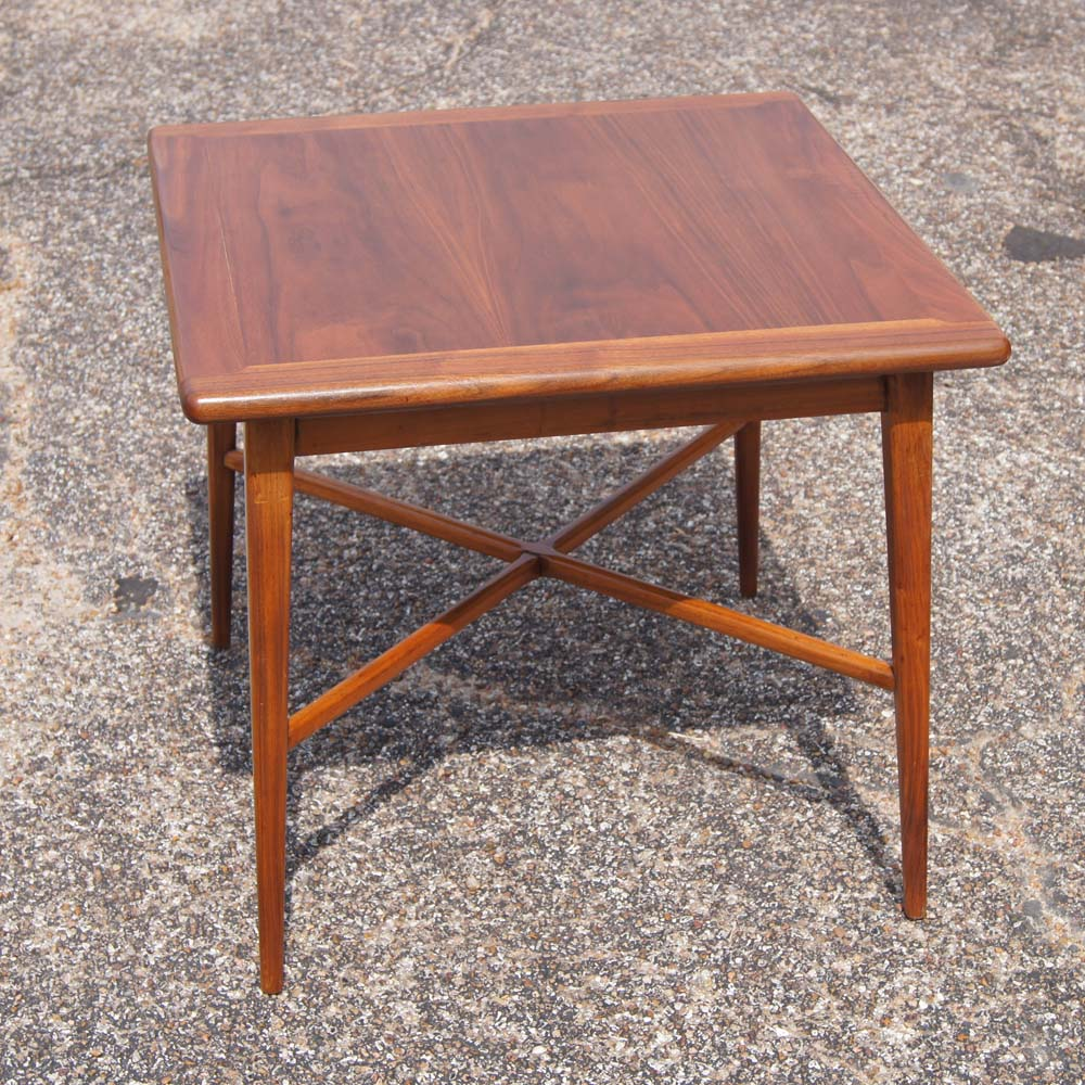 """Small Mid Century Modern End Tables: 24"""" Vintage Mid Century Modern Walnut Side End Table"""