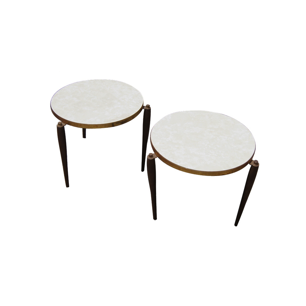 Small Mid Century Modern End Tables: (2) Vintage Mid Century Modern End Tables