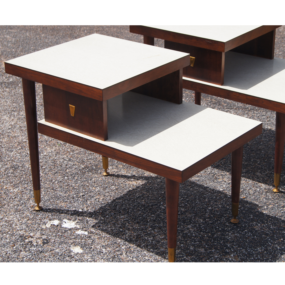 mid century modern two tier end tables two tier wood framed end tables